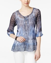 Styleandco. Style And Co. Printed Sheer Peasant Blouse Only At Macy's Stormy Sea