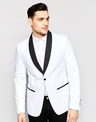 Antony Morato Tuxedo Blazer In Super Slim Fit White