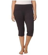 Marika Curves Plus Size High Rise Tummy Control Capris Nine Iron Women's Workout Brown