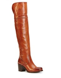 Frye Kendall Knee High Leather Boots Cognac