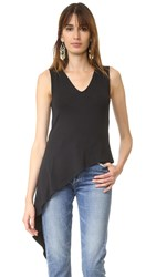 Haute Hippie V Neck Asymmetric Top Black