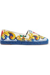 Dolce And Gabbana Printed Brocade Espadrilles Blue