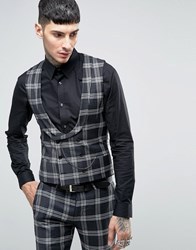 Noose And Monkey Super Skinny Db Waistcoat In Check With Chain With Stretch Black