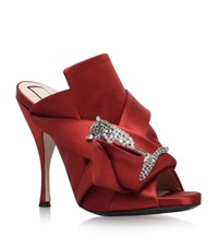 N 21 No. 21 Satin Bow Cat Mules Female Red