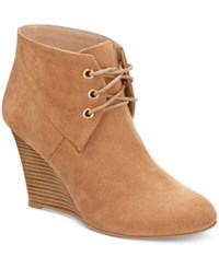 Thalia Sodi Noa Wedge Booties Only At Macy's Women's Shoes Taupe Microsuede