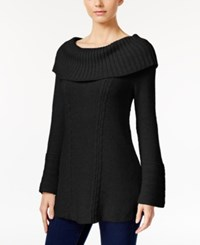 Styleandco. Style Co. Off The Shoulder Cable Knit Sweater Only At Macy's Deep Black