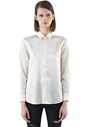 Saint Laurent Silk Long Sleeved Satin Shirt White