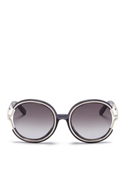 Chloe 'Jayme' Metal Temple Round Resin Sunglasses Grey