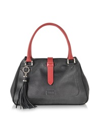 Buti Black And Red Leather Satchel Bag