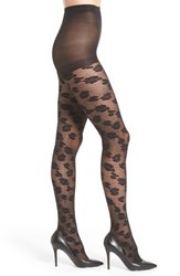 Women's Hue 'Open Floral' Control Top Tights Black
