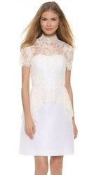 Marchesa Beaded Lace Peplum Blouse Ivory