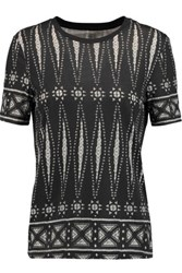 Tory Burch Printed Pima Cotton T Shirt Black