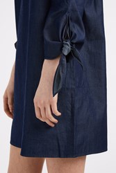 Tibi Tie Sleeve Denim Dress Blue