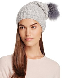Inverni Slouchy Beanie With Coyote Fur Pom Pom Light Gray