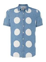 G Star Polka Dot Classic Fit Short Sleeve Classic Collar Chambray