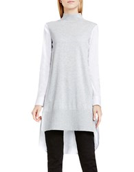 Vince Camuto Cotton Poplin Long Turtleneck Tunic Grey