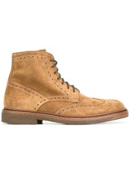 Henderson Baracco Perforated Detailing Boots Brown