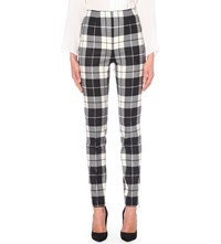 Max Mara Tartan Skinny Stretch Wool Trousers Black Check