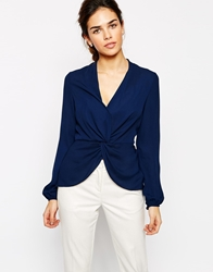Tfnc Twist Front Blouse Navy