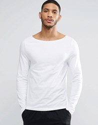 Asos Muscle Long Sleeve T Shirt With Boat Neck In White White