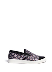 Mother Of Pearl 'Gatson' Star Print Satin Skate Slip Ons Blue Brown