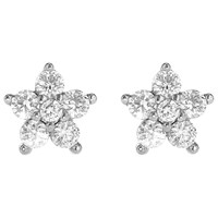 Ibb 9Ct White Gold Cubic Zirconia Cluster Flower Stud Earrings White Gold