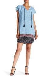 Daniel Rainn Short Sleeve Split Neck Shift Dress Blue