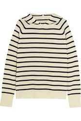 Chinti And Parker Striped Merino Wool Hooded Top Cream