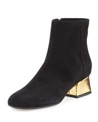 Marni Suede Ankle Boot W Metallic Python Heel Black