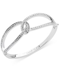 Anne Klein Interlocking Pave Hinged Bangle Bracelet Only At Macy's Silver