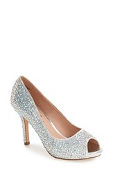 Lauren Lorraine Women's 'Paula' Peep Toe Pump Silver Candy Fabric