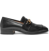 Gucci Gran Duca Horsebit Fringed Grained Leather Loafers Black
