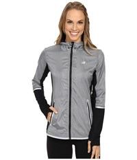 New Balance Performance Merino Hybrid Jacket Silver Mink Black Women's Coat
