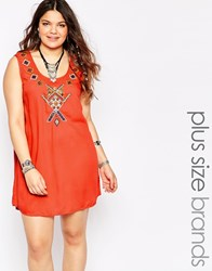 Alice And You Embroidered Mirror Shift Dress Orange