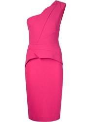 Roland Mouret Asymmetric Peplum Dress Pink And Purple