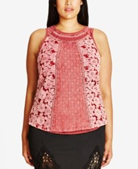 City Chic Trendy Plus Size Mixed Lace Tank Top Marsala