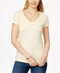 Energie Juniors' Mila Short Sleeve V Neck T Shirt Yellow White Stripe