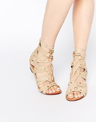 Glamorous Stone Ghillie Tie Up Wedge Sandals Stone Beige