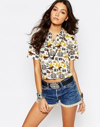 Reclaimed Vintage Boxy Cropped Shirt With Cowboy Print Multi