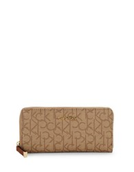 Calvin Klein Monogrammed Zip Around Wallet Copper