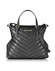 Armani Jeans Black Faux Quilted Leather Tote