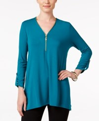 Jm Collection Zip Front Cuffed Sleeve Top Only At Macy's Teal Abyss