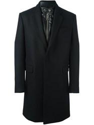 Les Hommes Built In Band Collar Coat Black