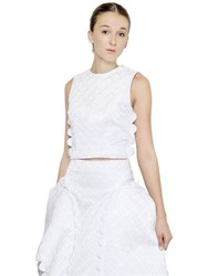 Simone Rocha Sleeveless Cotton Brocade Crop Top