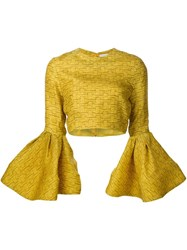 Christian Siriano Ruffled Sleeve Crop Top Yellow And Orange