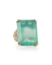 Stephen Dweck Emerald Cut Bronze Ring W Green Agate And Quartz Doublet