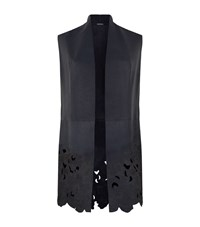 Elie Tahari Laila Leather Sleeveless Jacket Female Midnight
