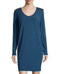 See By Chloe Epaulet Long Sleeve Shift Dress Navy