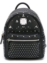 Mcm Stud Embellished Mini Backpack Black