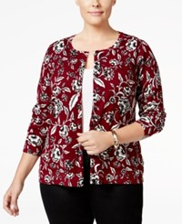 Charter Club Plus Size Floral Print Cardigan Only At Macy's Cranberry Red Combo